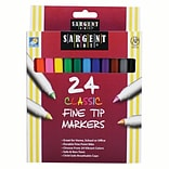 Sargent Art® Classic Markers, Fine Tip, Assorted Colors, 24/Pack, (SAR221524)