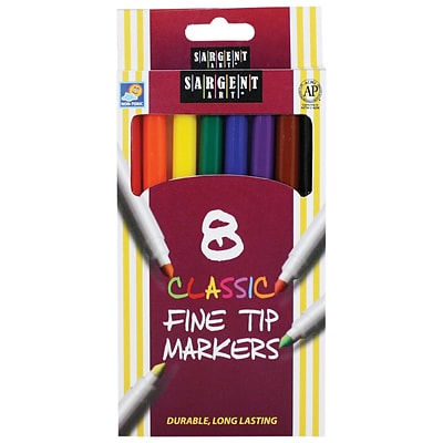 Sargent Art Classic Markers, Fine Tip, Assorted Colors, Pack of 8 (SAR221540)