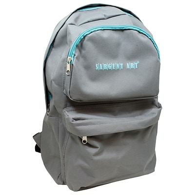 Sargent Art Economy Backpack, Gray w/ Teal Zipper, Nylon (SAR985022)