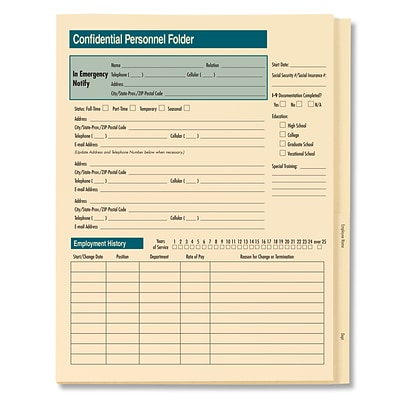 ComplyRight Confidential Personnel Folder Expanded, Pack of 25 (A224)