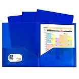 C-Line, Blue Two Pocket Poly Portfolios Without Prongs Pack of 10, 8.5 x 11 paper size (CLI32955)