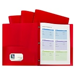C-Line, Red Two Pocket Poly Portfolios With 3 Prongs Pack of 10, 8.5 x 11 paper size (CLI32964)