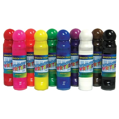 Crafty Dab Window Writers, Washable Window Paint, Assorted Colors, 48 ml, 10 ct. (CV-75556)