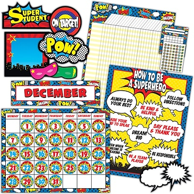 Teacher Created Resources Superhero Set 9/set, 22 x 17 Assorted Sizess and Colors (TCR9666)