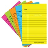 Top Notch Teacher Products Library Cards, Assorted Brite Colors, 500/Box (TOP369)