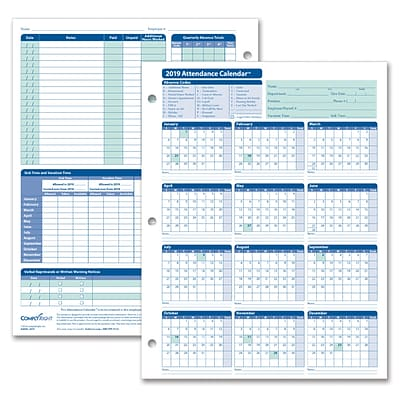 ComplyRight™ 2019 Attendance Calendar Kit, White, Pack of 100