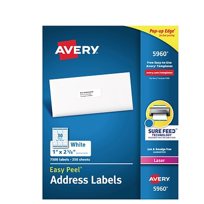 Avery Laser Address Labels with Easy Peel, 1 x 2-5/8, White, 7500/Box (05960)