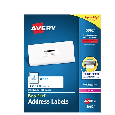 avery easy peel white address labels sure feed technology laser