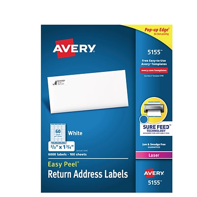 Avery® 5155 White Easy Peel Return Address Labels, Laser, 2/3x1-3/4, 6000/Box