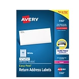 Avery Laser Return Address Labels with Easy Peel, 1/2 x 1-3/4, White, 8,000/Box (5167)