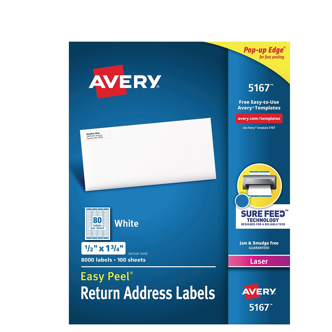 avery laser return address labels with easy peel 1 2 x 1 3 4