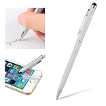 Insten Universal Silver 2in1 Capacitive Touch Screen Stylus with Ball Point Pen