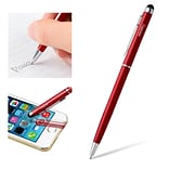 Insten® Universal 2-in-1 Capacitive Stylus with Ball Point Pen, Red