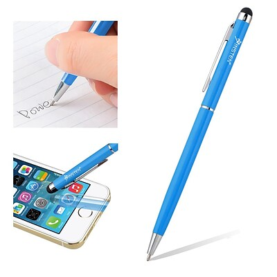 Insten® Universal 2-in-1 Capacitive Stylus with Ball Point Pen, Blue