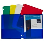 C-Line® Two-Pocket Poly Portfolios with Three-Hole Punch, Letter Size, Assorted colors, Pack of 10 (