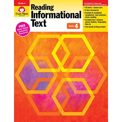 Evan-Moor® Reading Informational Text: Common Core Mastery Book, Grade 4th