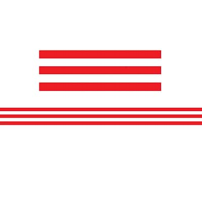 Teacher Created Resources 3 x 35 Red and White Stripes Straight Border Trim, 12 Pack (TCR5489)