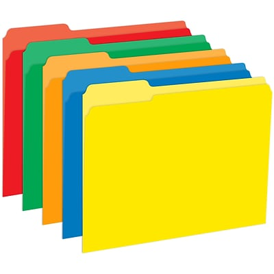 Top Notch Teacher Products Primary File Folder, 3-Tab, Letter Size, Assorted Primary Colors, 10/Pack (TOP3348)