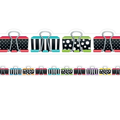 Creative Teaching Press 2.75 x 35 Bold & Bright Binder Clips Border, Pack of 12 (CTP8348)