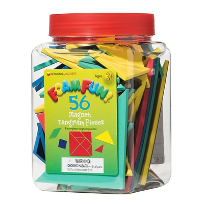 Dowling Magnets Foam Fun! Magnet Tangrams Pieces, Assorted Colors & Sizes (DO-732103)