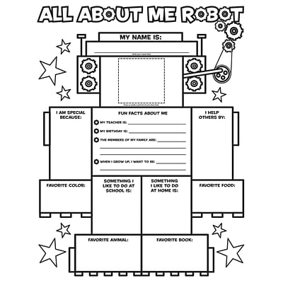 Scholastic Teaching Resources Activity Poster Sets, All-About-Me Robot