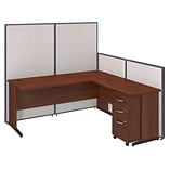 Bush Business Furniture 72W C-Leg L-Desk and 3 Drawer Mobile Pedestal with ProPanels, Light Gray (PP