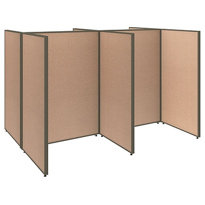 Bush Business Furniture ProPanels 96W x 72D x 66H 4 Person Open Cubicle Configuration, Harvest Tan (PPC004HT)