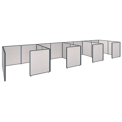 Bush Business Furniture ProPanels 288W x 72D x 42H 4 Person Closed Cubicle Configuration, Light Gray (PPC016LG)