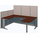Bush Business Furniture Office in an Hour 89W x 65D U Shaped Cubicle Workstation, Hansen Cherry (WC3