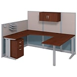 Bush Business Furniture Office in an Hour 89W x 65D U Shaped Cubicle Workstation with Storage, Hanse