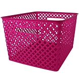 Romanoff Large Plastic Woven Basket 14.5H x 12W, Hot Pink (ROM74207)