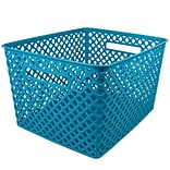 Romanoff Large Plastic Woven Basket 14.5H x 12W, Turquoise (ROM74208)