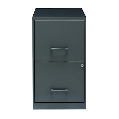 Space Solutions 2-Drawer File Cabinet, Letter-Width, Graphite Gray, 18 Deep (22555)