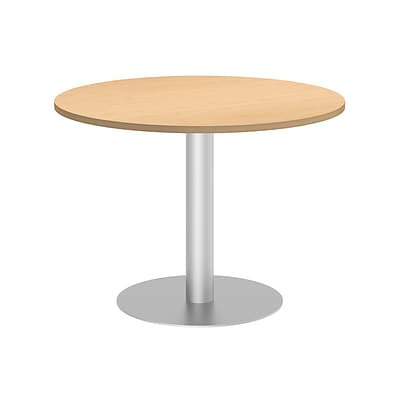 Bush Business 42W Round Conference Table with Metal Disc Base, Natural Maple