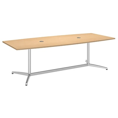 Bush Business Furniture 96L x 42W Boat Top Conference Table with Metal Base, Natural Maple