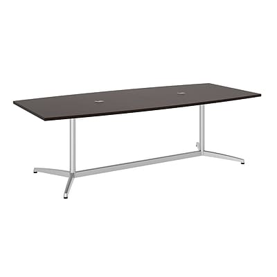 Bush Business 96L x 42W Boat Top Conference Table with Metal Base, Mocha Cherry