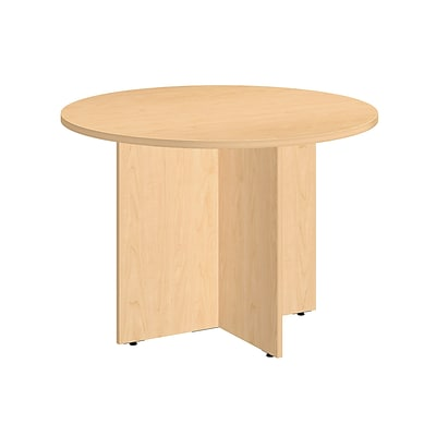 Bush Business 42W Round Conference Table with Wood Base, Natural Maple
