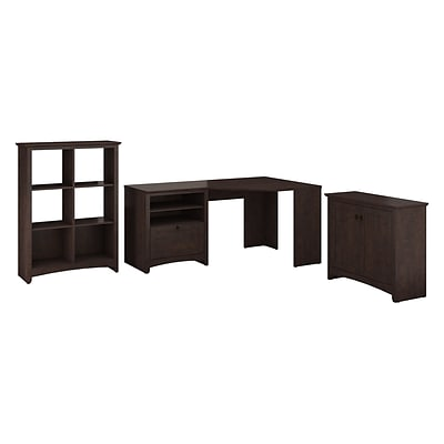 Bush Furniture Buena Vista Corner Desk with Low Storage & 6-Cube Storage, Madison Cherry