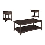 Bush Furniture Buena Vista Set of (2) Laptop End Tables with Coffee Table, Madison Cherry