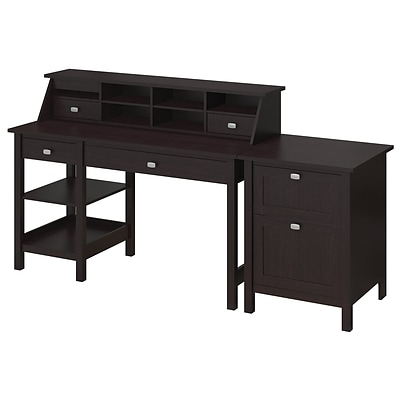 Bush Furniture Broadview Computer Desk With Open Storage Organizer And File Cabinet Espresso Oak Quill