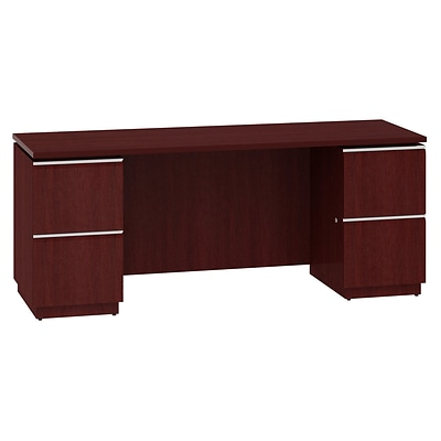 Bush Business Milano2 72W Double Pedestal Kneespace Credenza, Harvest Cherry