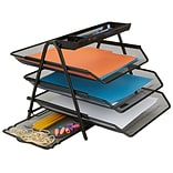 Mind Reader Census Metal Mesh 3 Tier File Tray, Black (3TFILE-BLK)