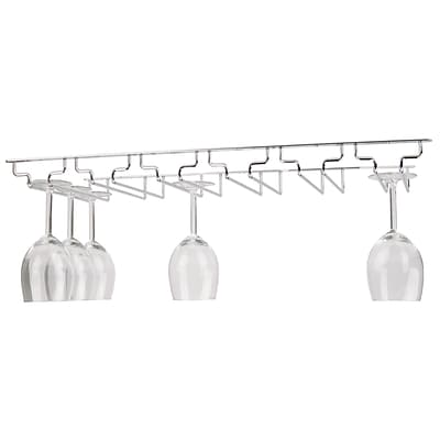 Mind Reader Rail 6 Row Chrome Stemware Holder, Silver (6WGRACK-SIL)
