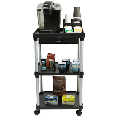 Mind Reader Valet 3 Tier Rolling Coffee Cart, Organizer included, Black (CARTCOFF-BLK)