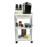 Mind Reader Valet 3 Tier Rolling Coffee Cart, Organizer included, White (CARTCOFF-WHT)