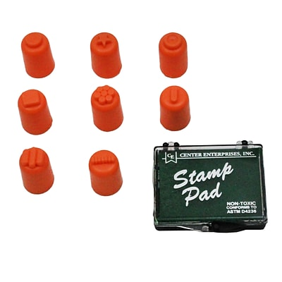 Finger Paint, Stampers, 8 Designs, 1-3/8 high x 3/4 diameter, 8/pkg with Stamp Pad