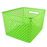Romanoff Large Plastic Woven Basket 14.5H x 12W, Lime Green (ROM74215)