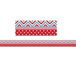 Teacher Created Resources Straight Chevron Border Trim, Red/Blue, 35 x 3 (TCR5523)