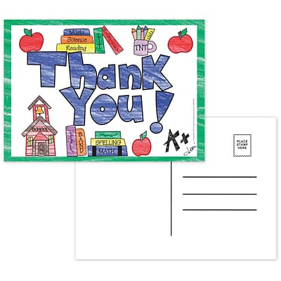 Top Notch Teacher Products Thank You Smooth Personal Postcards, Multicolor, 30/Pack (TOP5104)