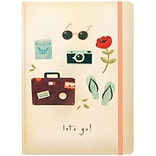 JAM Paper® Hardcover Notebook with Elastic, 5 3/4 x 8 1/4, Lets Go! Journal, 160 Lined Sheets, Sold